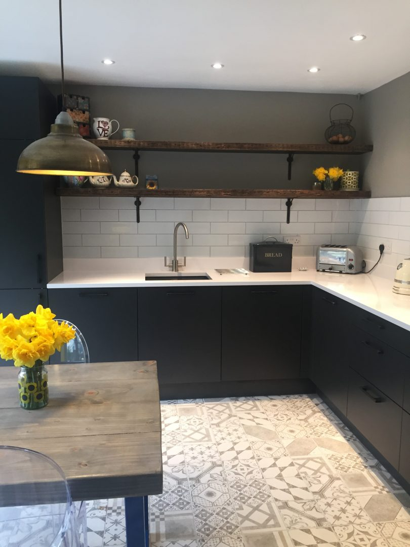 classic industrial kitchen with patterned floor