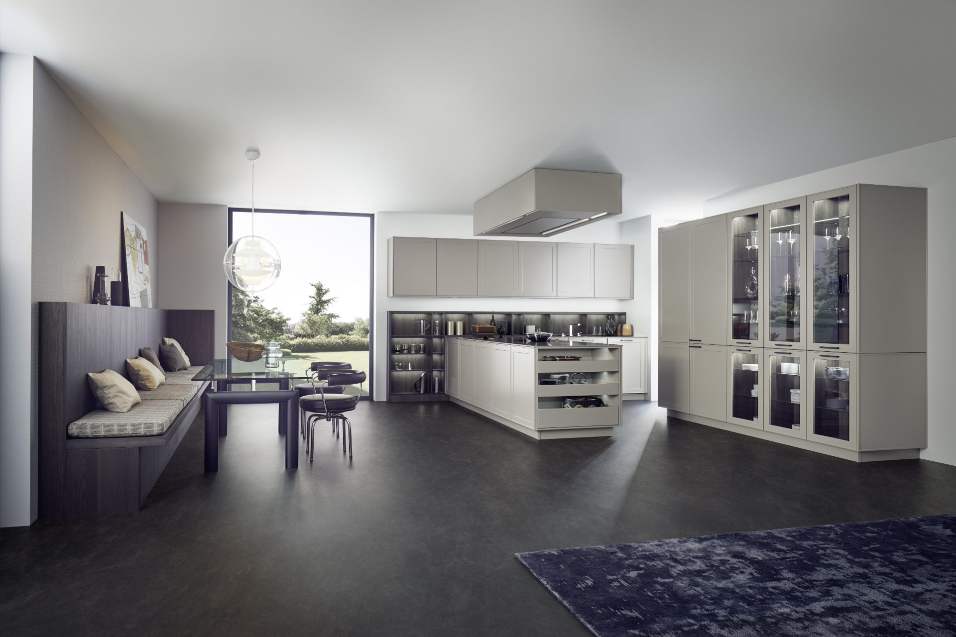 This modern kitchen by German supplier, Leicht features VERVE-FS matt lacquered MDF double frame doors in 'Ombre Naturell Moyenne', paired with TOPOS in 'Bergamo Elm' wood veneer.