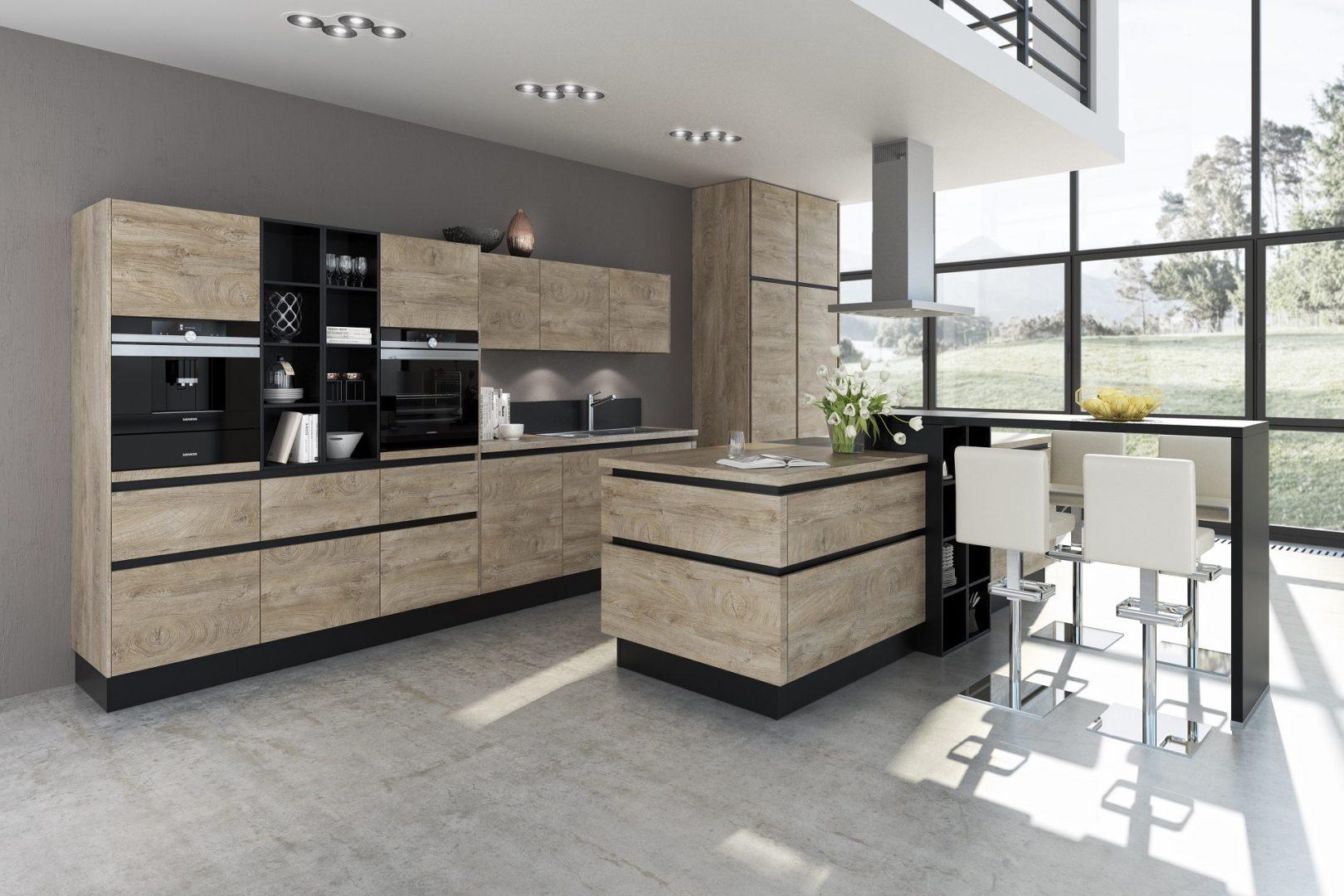 This kitchen by German supplier Brigitte features the AURA range, a wooden effect laminate in finish 'Cantaro Oak'