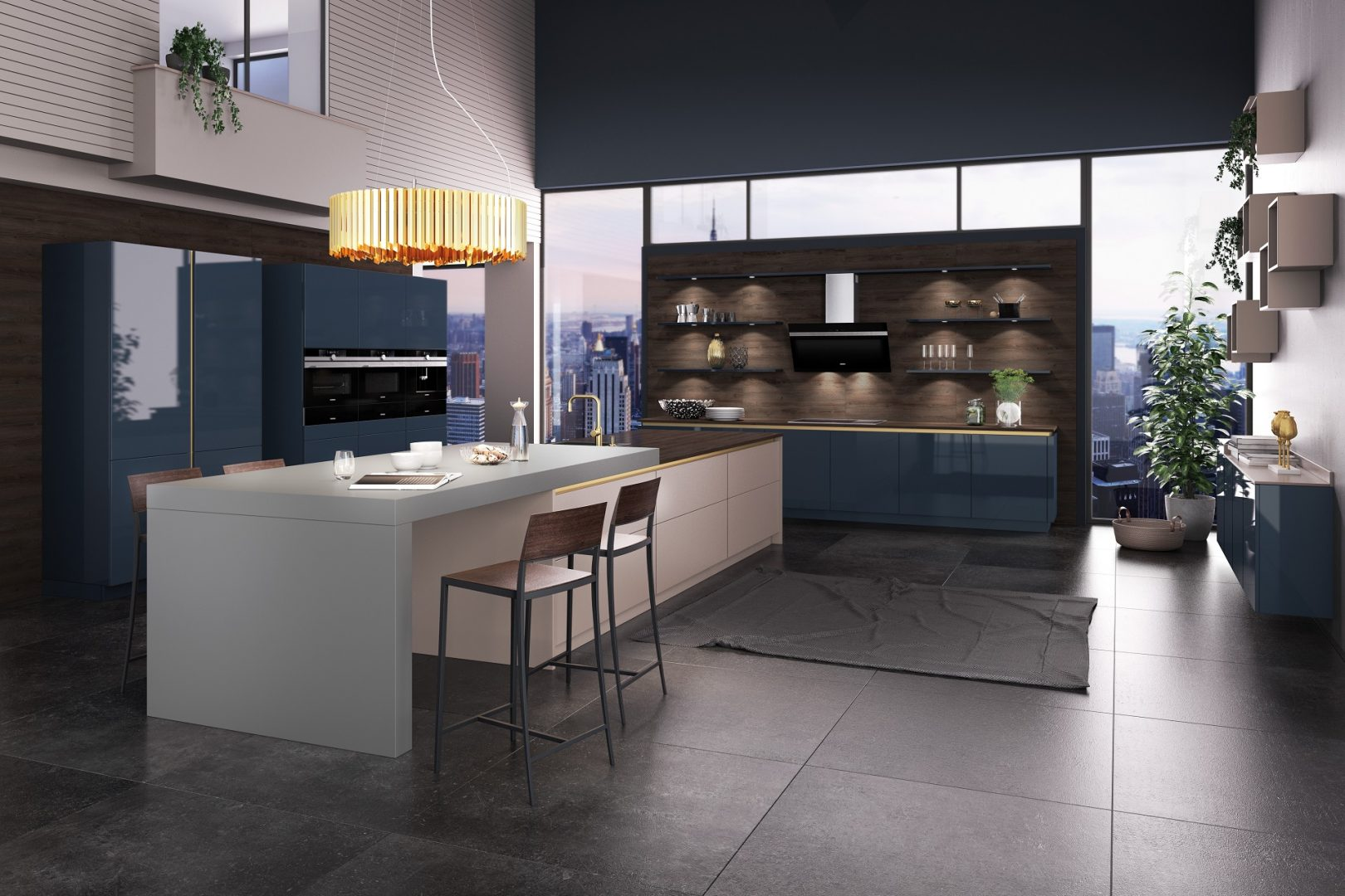 This kitchen by German supplier Brigitte features their CRISTAL range, a high gloss lacquered door in finish 'Steel Blue'.