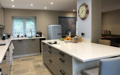 GREY AND BLUE OPEN PLAN KITCHEN