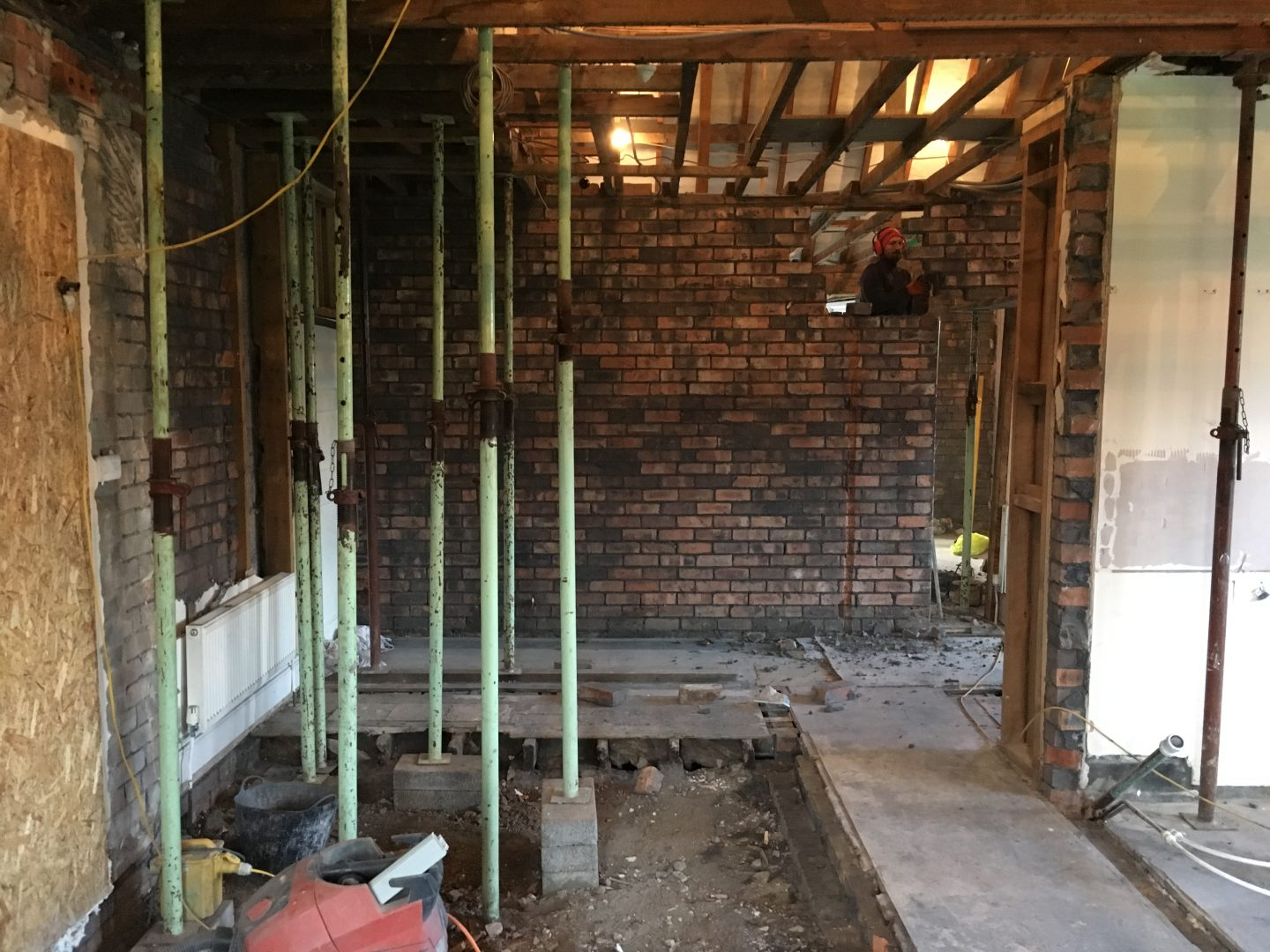 Old Garage Conversion to Kitchen - Showing Progress Made in the Construction Stage