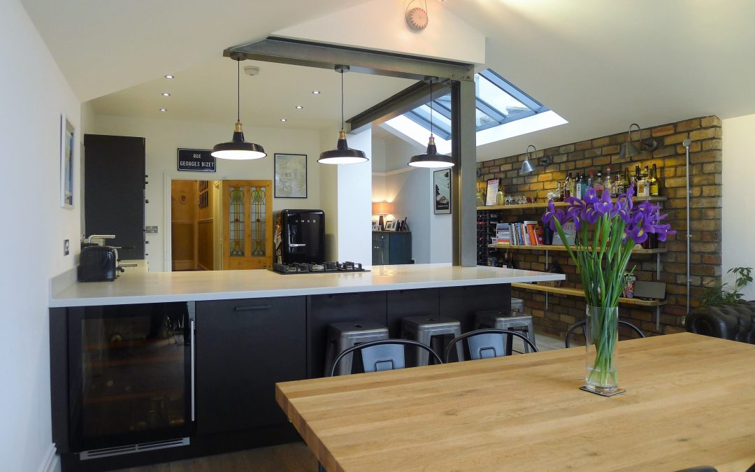 BLACK AND WHITE INDUSTRIAL KITCHEN
