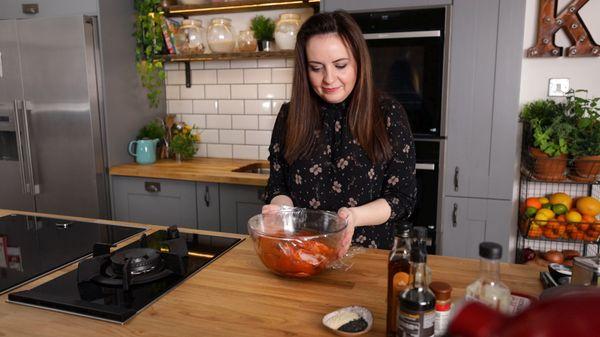 Take the marinating Korean pork chops out the fridge