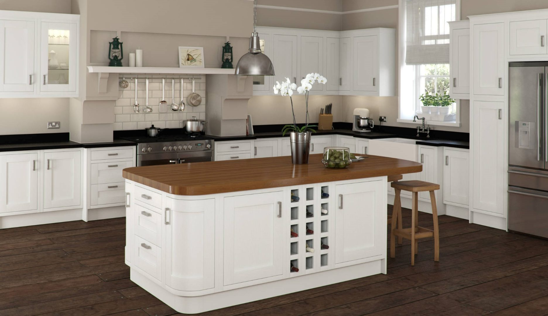 Ivory Foil Kitchen with Wooden Island and Black Countertips