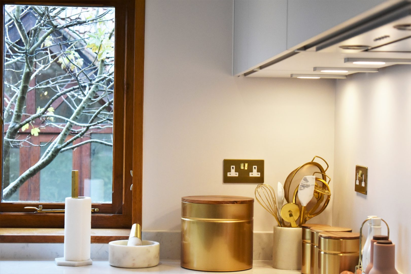 gold & silk grey kitchen accessories