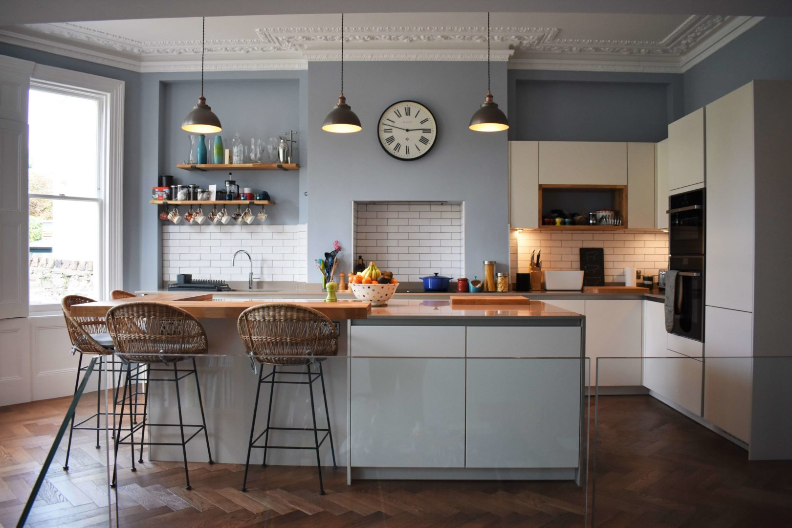 gold and silk grey kitchen with copper lighting